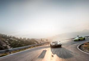Dynamic shot of Porsche and Ferarri by Automotive Photographer GFWilliams